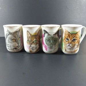 Set of 4 cat coffee cups made in Japan